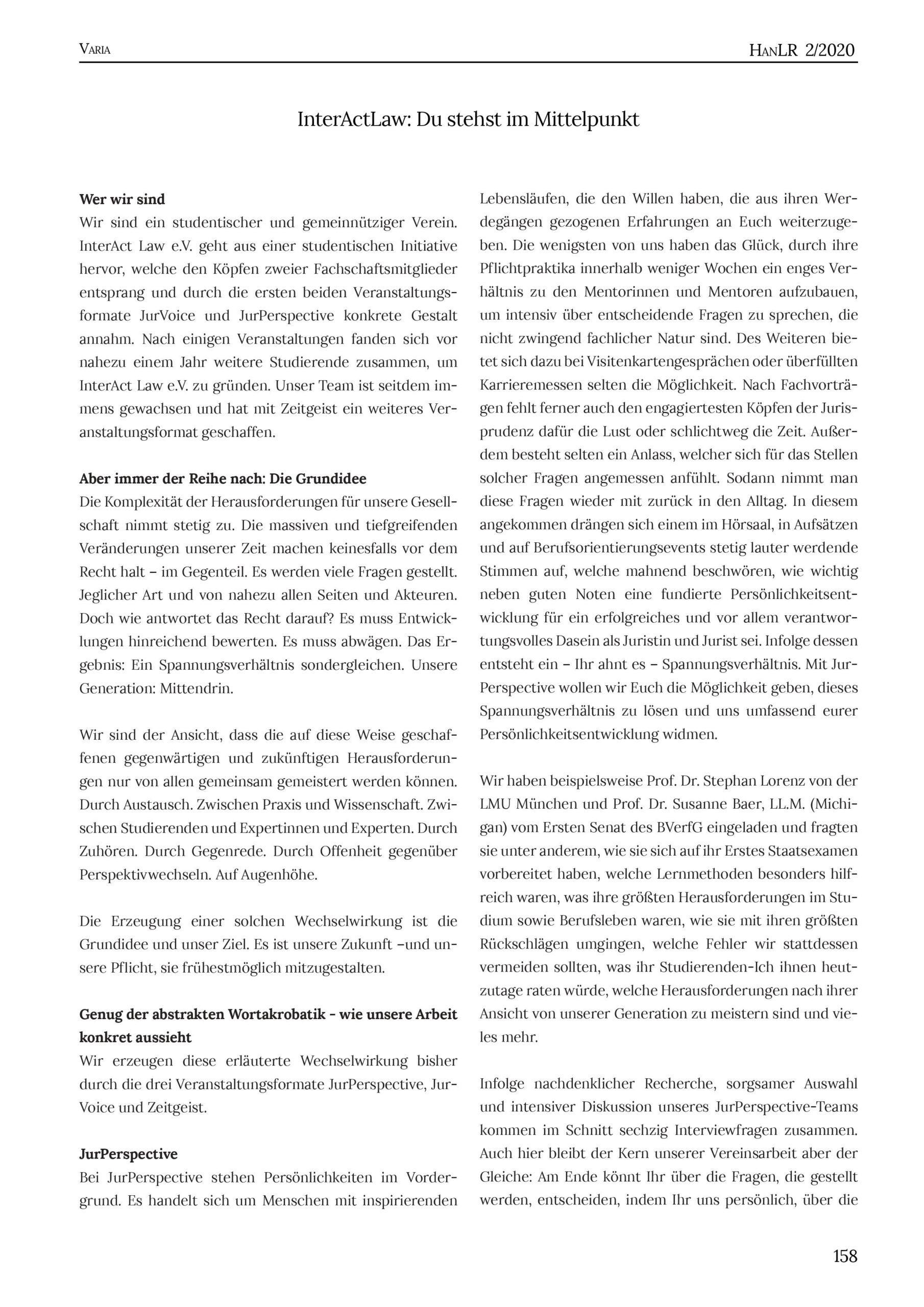 HanLR 2/2020, Lea Köhne, InteractLaw: Du stehst im Mittelpunkt, S.158-159, 158