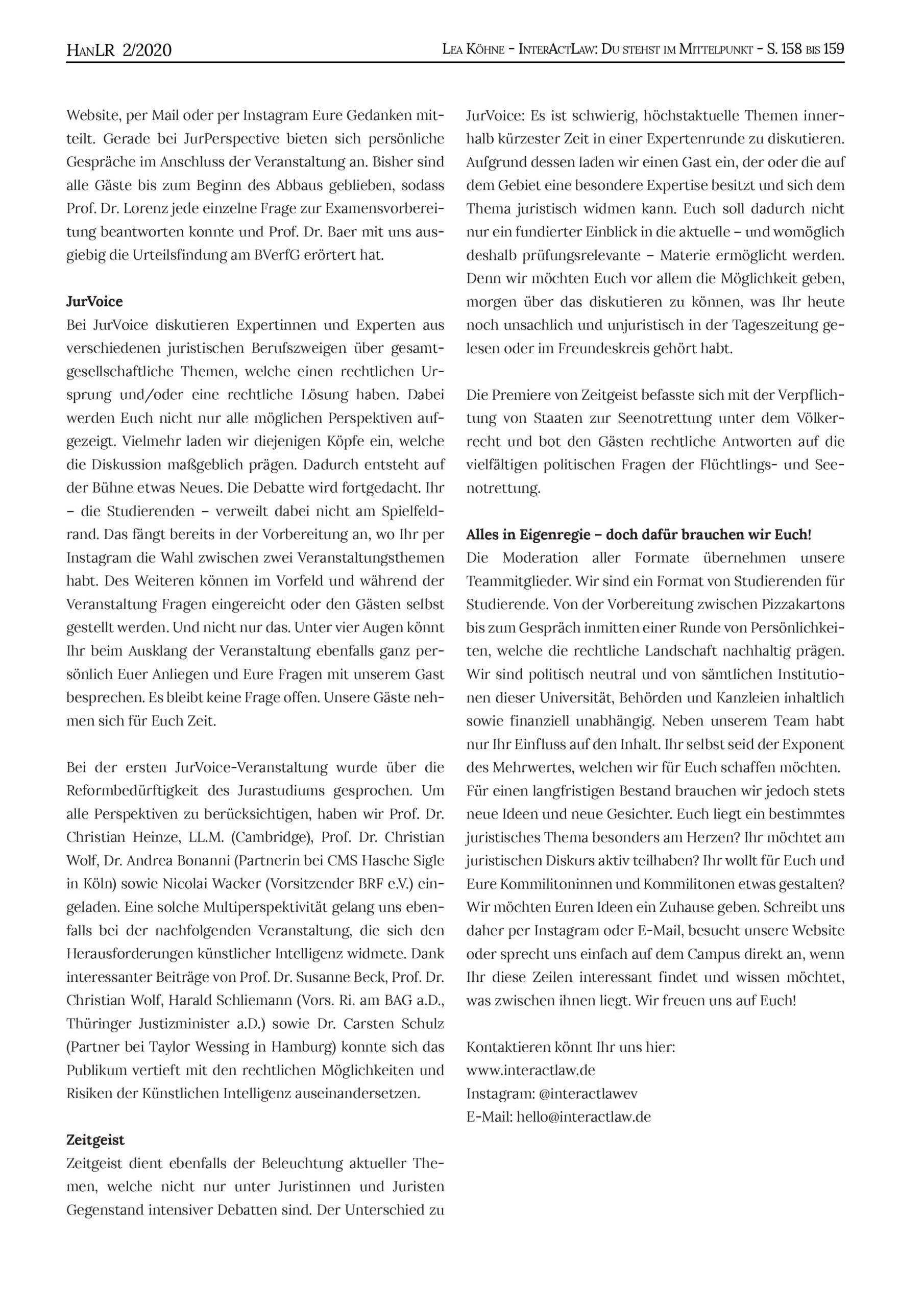 HanLR 2/2020, Lea Köhne, InteractLaw: Du stehst im Mittelpunkt, S.158-159, 159